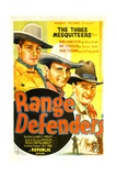 RANGE DEFENDERS, from left: Bob Livingston, Ray Corrigan, Max Terhune, 1937 Posters