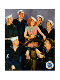 TRUE TO THE NAVY, center: Clara Bow on jumbo lobbycard, 1930. Prints