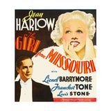 GIRL FROM MISSOURI, from left: Franchot Tone, Jean Harlow on window card, 1934 Prints