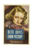 DARK VICTORY, Bette Davis on midget window card, 1939. Prints