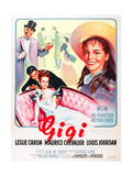 GIGI, l-r: Maurice Chevalier, Louis Jourdan, Leslie Caron on French poster art, 1958 Prints