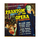 PHANTOM OF THE OPERA, l-r: Nelson Eddy, Susanna Foster, Claude Rains on window card, 1943. Prints