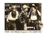 THE SQUAW MAN, l-r: Eliott Dexter, Jack Holt, Theodore Roberts on lobbycard, 1918 Print