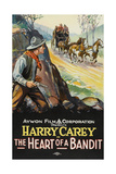 THE HEART OF A BANDIT, left: Harry Carey on poster art, 1915 Print