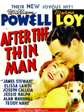 AFTER THE THIN MAN, from left: Myrna Loy, William Powell, Asta (lower right) on window card, 1936 Plakat