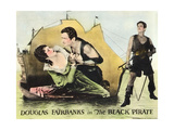 THE BLACK PIRATE, l-r: Billie Dove, Douglas Fairbanks on lobbycard, 1926 Prints