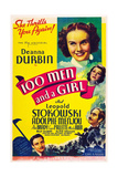 ONE HUNDRED MEN AND A GIRL, Deanna Durbin, Alice Brady, Mischa Auer, Adolphe Menjou, 1937 Posters