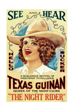 THE NIGHT RIDER, Texas Guinan, 1920, poster for late 1920s re-release Posters