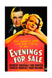 EVENINGS FOR SALE, from left on US poster art: Herbert Marshall, Sari Maritza, 1932 Posters