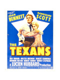 THE TEXANS, from left: Randolph Scott, Joan Bennett on window card, 1938 Posters