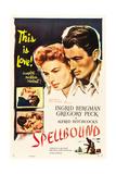 SPELLBOUND, l-r: Ingrid Bergman, Gregory Peck on poster art, 1945 Plakater