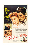 SPELLBOUND, l-r: Ingrid Bergman, Gregory Peck on poster art, 1945 Prints
