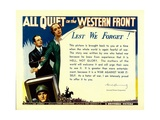 ALL QUIET ON THE WESTERN FRONT, bottom: Lew Ayres, 1930. Posters