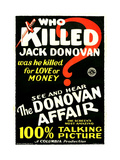 THE DONOVAN AFFAIR, US poster art, '100% Talking Picture,' 1929 Prints