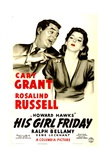 HIS GIRL FRIDAY, (poster art), Cary Grant, Rosalind Russell, 1940 Prints