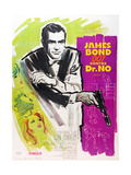 DR. NO, Sean Connery on French poster art, 1962. Art