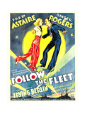 FOLLOW THE FLEET, from left: Ginger Rogers, Fred Astaire on window card, 1936 Poster