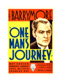 ONE MAN'S JOURNEY, Lionel Barrymore on midget window card, 1933. Poster