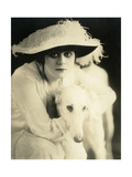 Theda Bara with her Russian wolfhound, Belva, 1916 Print