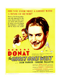 THE GHOST GOES WEST, from left: Jean Parker, Robert Donat on window card, 1935. Prints