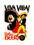 VIVA VILLA!, left and far right: Wallace Beery on window card, 1934. Poster