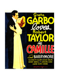 CAMILLE, from left: Robert Taylor, Greta Garbo on window card, 1936 Posters