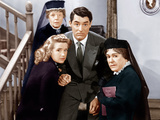 ARSENIC AND OLD LACE, from left: Priscilla Lane, Jean Adair (back), Cary Grant, Josephine Hull Print