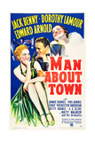MAN ABOUT TOWN, US poster art, from left: Betty Grable, Jack Benny, Dorothy Lamour, 1939 Posters