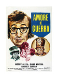LOVE AND DEATH, (aka AMORE E GUERRA), French poster, Woody Allen, Diane Keaton (kissing), 1975 Poster