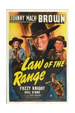 LAW OF THE RANGE, from left: Nell O'Day, Johnny Mack Brown, Fuzzy Knight, 1941. Prints