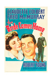 THE BRIDE COMES HOME, l-r: Claudette Colbert, Fred MacMurray on U.S. poster art, 1935 Poster