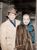From left: Ronald Reagan with his wife, Jane Wyman, on train, ca. 1946 Print