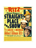 STRAIGHT PLACE AND SHOW, left: The Ritz Brothers on window card, 1938 Print
