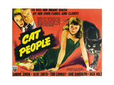 CAT PEOPLE, top left from left: Jane Randolph, Kent Smith, right: Simone Simon, 1942. Posters
