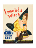 I MARRIED A WITCH, l-r: Veronica Lake, Fredric March on window card, 1942. Print