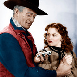 RED RIVER, from left: John Wayne, Joanne Dru, 1948 Photo