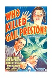 WHO KILLED GAIL PRESTON, US poster, from top: Rita Hayworth, Don Terry, Robert Paige, 1938 Prints