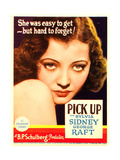 PICK-UP, Sylvia Sidney on midget window card, 1933. Print