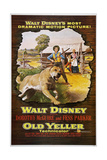OLD YELLER, from left: Old Yeller, Tommy Kirk, Kevin Corcoran, Dorothy McGuire, 1957. Art