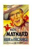 HEIR TO TROUBLE, Ken Maynard, 1935. Poster