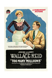 TOO MANY MILLIONS, l-r: Winifred Greenwood, Wallace Reid on poster art, 1918. Posters