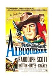ALBUQUERQUE, US poster, center from left: Randolph Scott, Barbara Britton, 1948 Kunst