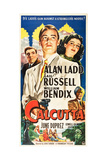 CALCUTTA, l-r: William Bendix, Alan Ladd, Gail Russell on US poster art, 1947. Print