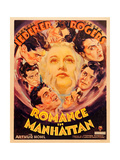 ROMANCE IN MANHATTAN, center: Ginger Rogers, border: Francis Lederer on window card, 1935. Poster