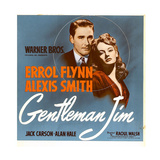 GENTLEMAN JIM, from left: Errol Flynn, Alexis Smith on window card, 1942. Art
