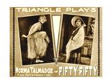 FIFTY-FIFTY, Norma Talmadge on lobbycard, 1916. Art