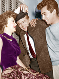 REBEL WITHOUT A CAUSE, from left: Natalie Wood, James Dean, Perry Lopez, on set, 1955 Photo