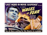 THE WAGES OF FEAR, from left: Yves Montand, Vera Clouzot on poster art, 1955. Art