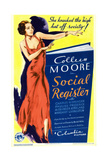 SOCIAL REGISTER, Colleen Moore on midget window card, 1934. Prints