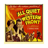 ALL QUIET ON THE WESTERN FRONT, bottom left: Lew Ayres on window card, 1930. Print